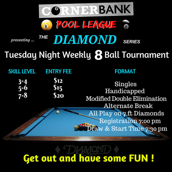 Weekly Tuesday Night 8-ball Tournament