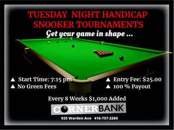 Weekly Tuesday Night Snooker Tournament
